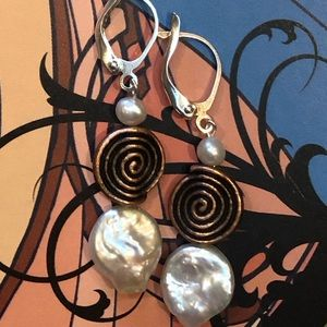Casey Keith Design Jewelry - Copper Spiral Coin Pearl Earrings in white